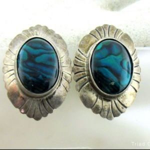 Navajo Nakai signed Silver and abalone earrings